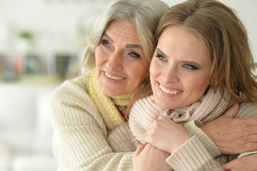 Beautiful elderly mother with an adult daughter