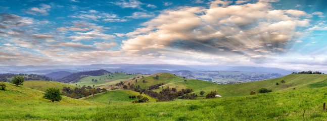 Panoramic view of Australian countryside at sunset, New South Wales