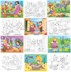 Fairy tales. Set of illustrations for children. Coloring page. Cute and funny cartoon characters
