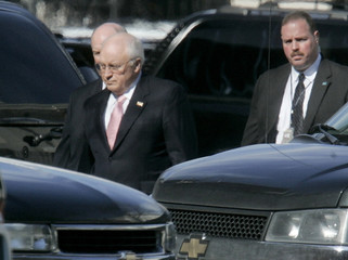 US Vice President Richard Cheney walks outside the White House complex in Washington