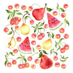 Watercolor fruit set with cherry, pear, watermelon
