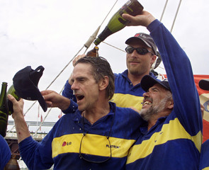BRITISH ACTOR JEREMY IRONS CELEBRATES SECOND PLACE IN WELLINGTON TO SYDNEY SAILING LEG WITH LG ...