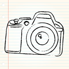 Camera doodle design on book sheet
