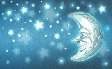 Cartoon background illustration of a moon and the stars shining in the night sky