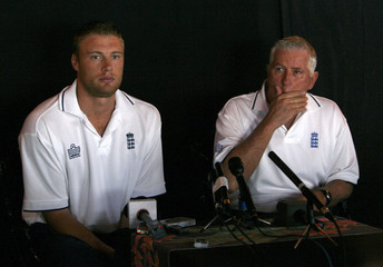 England's Flintoff and Fletcher attend a World Cup cricket news conference in Rodney Bay