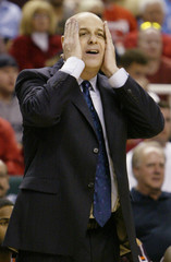 Virginia Tech head coach Seth Greenberg reacts during his teams loss to the University of Virginia in Greensboro