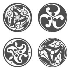 Vector celtic spiral ornament. Geometric illustration