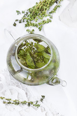 herbal tea with mint and thyme