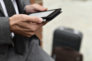 young businessman using a tablet
