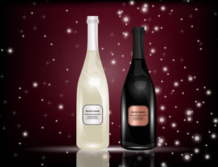 White and Red Wine Bottles on the Sparkling Background for Your Design.