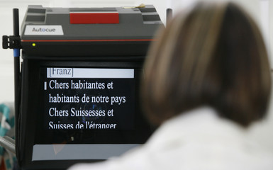 A part of the speech by Micheline Calmy-Rey, Switzerland's president for 2007, is seen on a teleprompter during a rehearsal in Bern
