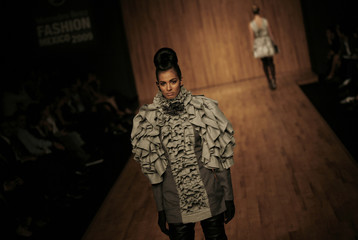 A model presents a creation from Mexican designer Morgana in Mexico City