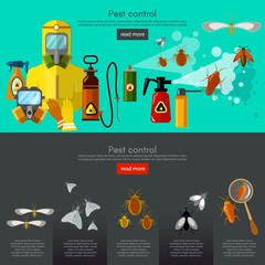 Pest control services insects exterminator detecting exterminating insects banner infographics vector