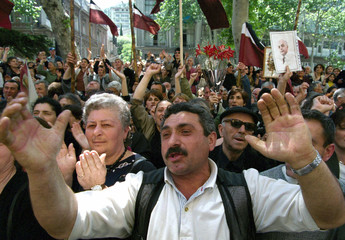 GEORGIAN OPPOSITION PROTESTERS GATHER IN CENTRAL TBILISI TO MARK THEINDEPENDENCE OF GEORGIA.