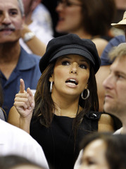 Eva Longoria watches Game 2 of NBA Finals between the Spurs and the Cavaliers in San Antonio