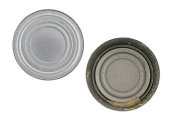 Empty tuna can with lid to the side isolated on a white background.