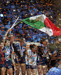 The Italian team celebrates after winning the European Women Volleyball Championships in the city of Lodz