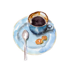 The coffee cup with brown shugar and spoon on white background, watercolor illustration in hand-drawn style.