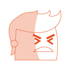 red silhouette image side view face cartoon man with angry expression vector illustration