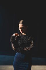Elegant young beautiful woman posing outdoor