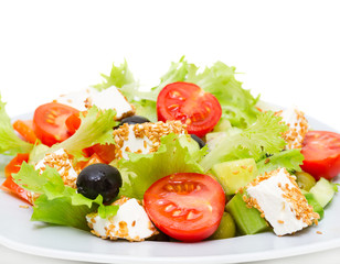 Greek Salad - Feta Cheese, Olive and Vegetables close up