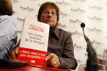 Marie-Ange Laroche, widow of Bernard Laroche killed by Jean-Marie Villemin, attends a news conference about 'the Gregory Affair' in Paris