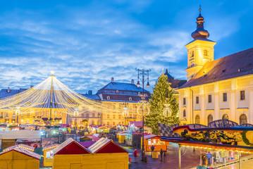 Wall Mural - Sibiu Christmas Market, Transylvania, Romania