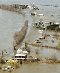 A view of flooded farms and homes in the Sheffield area of New Brunswick