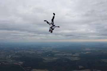 Cool skydiver in the sky