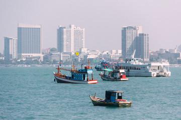 Various Sizes of Vessel near Pattaya Beach, Chonburi in Gulf of Thailand