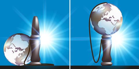 monde - politique, terre - réussite - succès - concept, défi - challenge - bilboquet