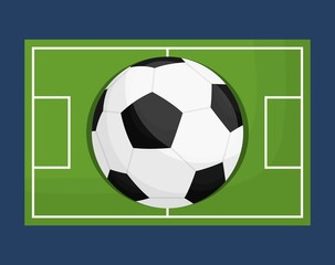 soccer ball icon over soccer field and blue background. colorful design. vector illustration