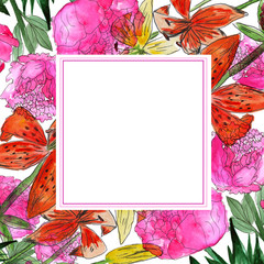 Abstract watercolor floral frame.