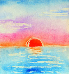 Watercolor sunset. Hand painted illustration.