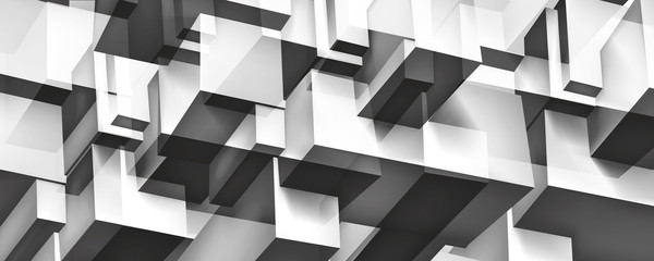 Volume geometric glass construction, 3d cubes gray background, shapes mosaic, abstraction wallpaper, vector design for you presentation