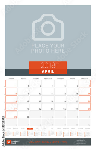 april 2018 wall monthly calendar planner for 2018 year vector