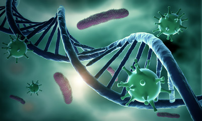Obraz DNA structure and HIV-infected - fototapety do salonu