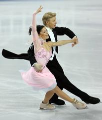 France's Grebenkina and Azrojan perform at World Figure Skating Championships in Calgary