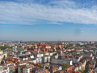 View of the city from St. Mary Magdalene Church, Wroclaw, Poland