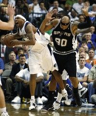 Dallas Mavericks Wright is fouled by San Antonio Spurs Gooden during their NBA Western Conference quarterfinal basketball playoff series in Dallas