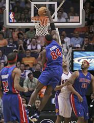 Detroit Pistons Chris Webber stuffs against the Phoenix Suns in Phoenix