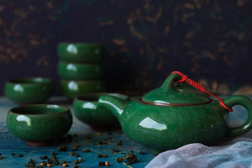 Traditional Chinese teapot and cups