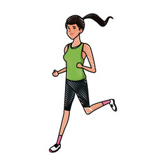 drawing sport girl running fitness image vector illustration