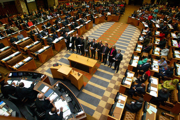 MEMBERS OF THE OPPOSITION DEMOCRATIC ALLIANCE ARE SWORN IN AS SOUTH AFRICA'S THIRD DEMOCRATIC ...