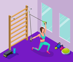 Isometric infographic illustration with girl doing suspension wo