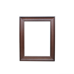 Wooden Picture Frame isolated on white background, clipping path inside