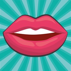 sensual pink lips icon over turquoise background. colorful design. vector illustration