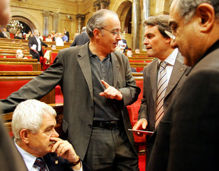 Catalan regional government President Maragall, Bargallo second leader of the ERC, Mas president of the CIU and Nadal spokesman of PSC talk in Barcelona