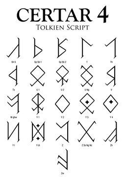 CERTAR Alphabet 4 - Tolkien Script on white background - Vector Image
