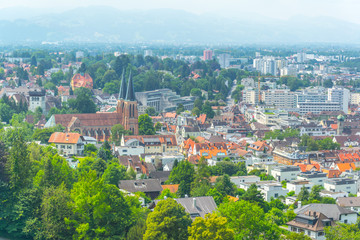 Aerial view of Bregenz dominated by the church of the sacred heart